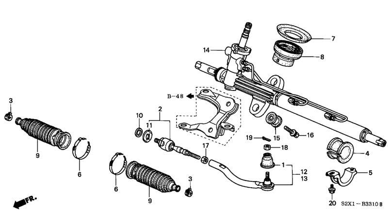 рейка рулевая хонда схема